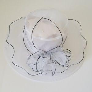 White and black dress hat